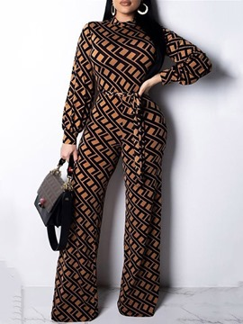 Ericdress Geometric Full Length Print Straight Loose Women's Jumpsuit