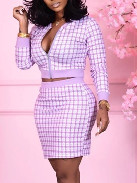 Ericdress Plaid Print Sexy Round Neck Zipper Women's Two Piece Sets