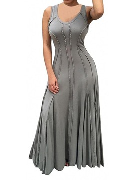 Ericdress Floor-Length Round Neck Sleeveless A-Line High Waist Women's Dress