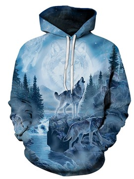 Ericdress Pullover Print Animal Men's Slim Casual Hoodies