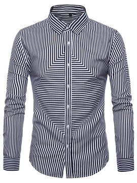 Ericdress Stripe Casual Lapel Men's Slim Spring Shirt