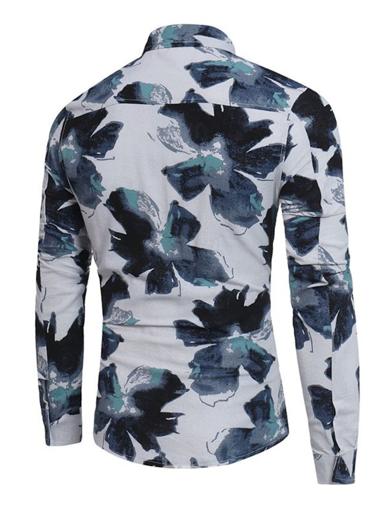 Ericdress Casual Floral Lapel Single-Breasted Men's Fall Shirt