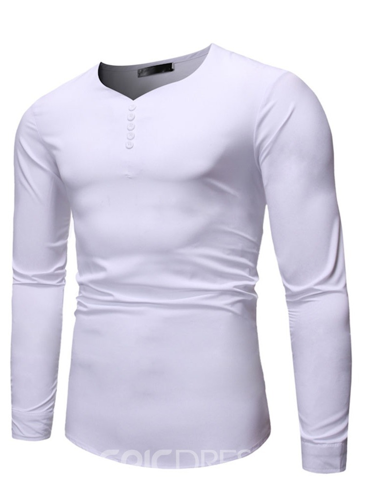 Ericdress Button Plain Casual Pullover Men's Slim T-shirt