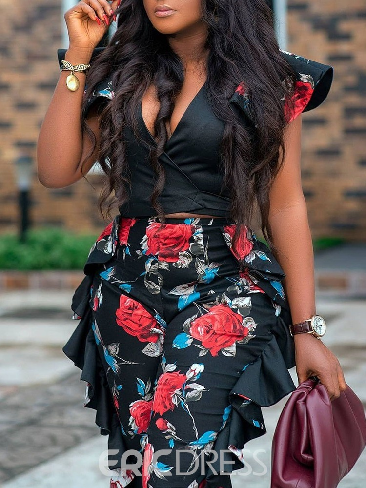 Ericdress Fashion Shirt Floral V-Neck Women's Two Piece Sets