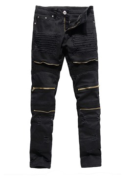 Ericdress Zipper Straight Plain Zipper Mid Waist Men's Jeans