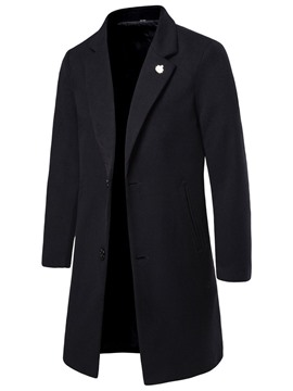 Ericdress Notched Lapel Mid-Length Plain Men's Winter Coat