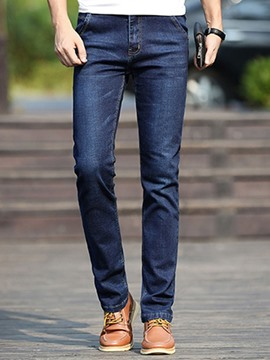 Ericdress Plain European Mid Waist Men's Jeans