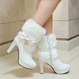 Ericdress Side Zipper Plain Chunky Heel Bow Boots