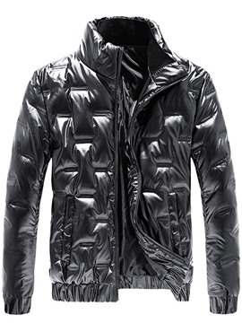 Ericdress Plain Standard Stand Collar Zipper Casual Men's Down Jacket