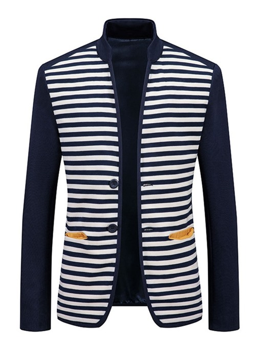 Ericdress Stripe Stand Collar Patchwork Slim Single-Breasted Men's Jacket