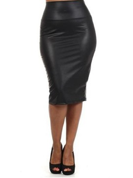 Ericdress Plain Mid-Calf Bodycon Sexy High Waist Women's Skirt