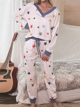 Ericdress Print Color Block Japanese Sleep Bottom Long Sleeve Pajama Suit