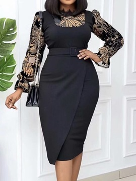 Ericdress Long Sleeve Patchwork Mid-Calf Floral Office Lady Women's Dress