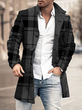 Ericdress Mid-Length Plaid Winter Single-Breasted Men's Coat