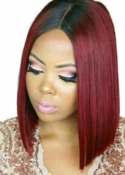 Ericdress 99J Straight Bob Short Hairstyle T Part Lace front Wig 14 Inch
