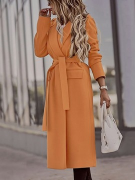 Ericdress Lace-Up Slim Belt Long Winter Overcoat