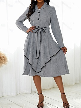 Ericdress Mid-Calf Long Sleeve Lace-Up Single-Breasted Fall Women's Dress