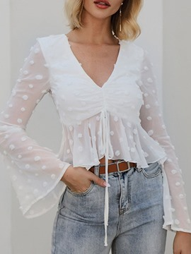 Ericdress Flare Sleeve Plain See-Through Long Sleeve Short Women's Blouse