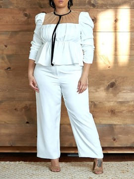 Ericdress Plain Pleated PlusSize Stand Collar Wide Legs Women's Two Piece Sets