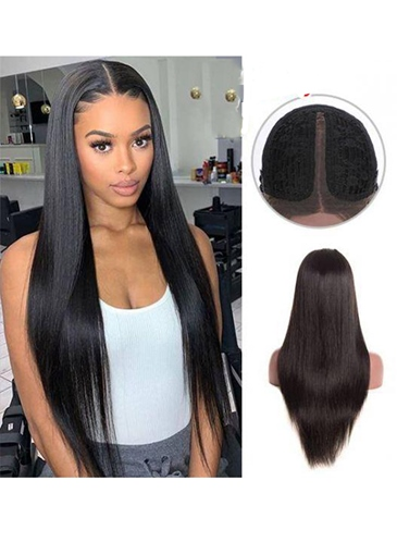 Ericdress Women's T-Part Wig Straight Human Hair Lace Wig 26Inch