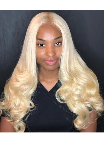 Ericdress Blonde Lace Front Wig Body Wave 613 Hair T Part Human Hair Wigs 26Inch