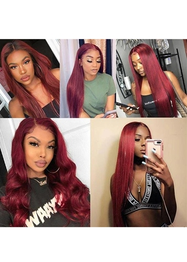 Ericdress 99J Color Burgundy Middle Part Lace Front Wig Colored Straight Human Hair Wigs 30Inch