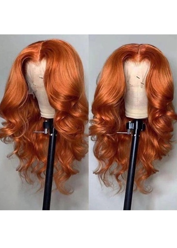 Ericdress Ombre Wigs Ginger Color Middle T Part Lace Body Wave Human Hair Wigs 24Inch