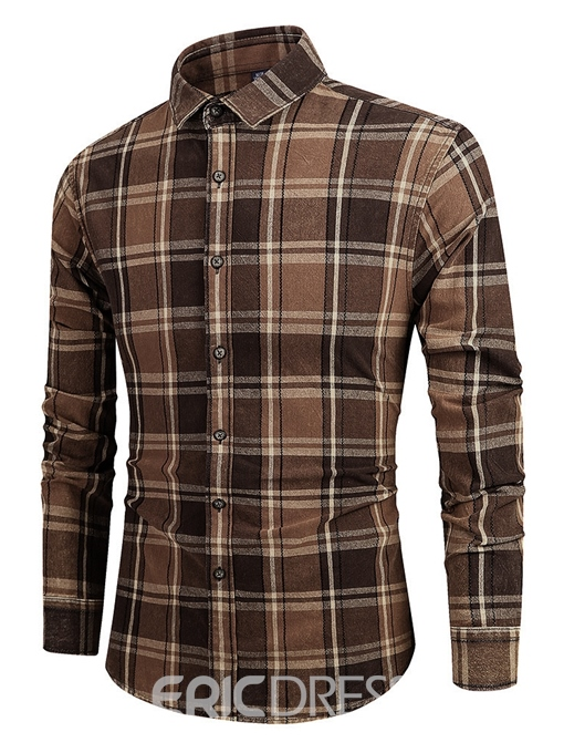 Ericdress Casual Lapel Plaid Mens Single-Breasted Shirt