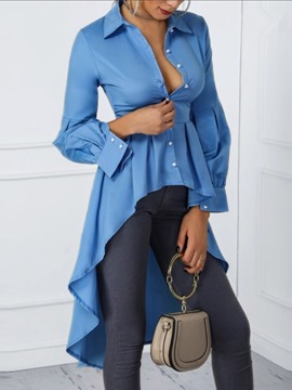 Ericdress Lapel Button Plain Long Sleeve Women's Long Blouse