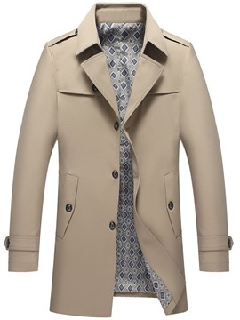 Ericdress Plain Lapel Mid-Length Fall Casual Men's Trench Coat