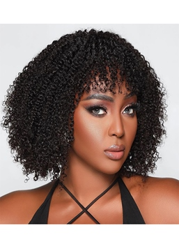 Ericdress Afro Kinky Curly Women's Medium Hairstyles Curl Human Hair Capless Wigs With Bangs 14Inch
