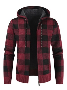 Ericdress Standard Hooded Plaid Winter Zipper Men's Sweater