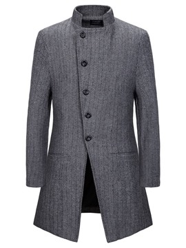 ericdress manteau mi-long col montant automne simple boutonnage homme