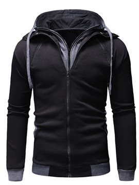 Ericdress Cardigan Patchwork Color Block Fall Casual Men's Hoodies