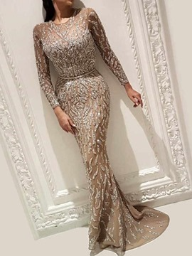 Ericdress Round Neck Floor-Length Sequins Trumpet Pullover Women's Dress