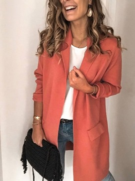 Ericdress Plain Long Sleeve Notched Lapel Fall Regular Casual Women's Blazer