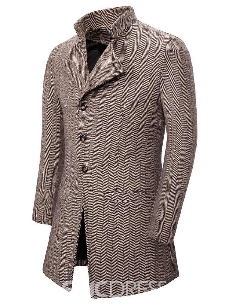 Ericdress Mid-Length Stand Collar Fall Single-Breasted Men's Coat
