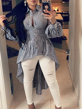Ericdress Stripe Lapel Asymmetric Long Long Sleeve Blouse