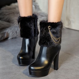 Ericdress Plain Side Zipper Chunky Heel Chain Boots
