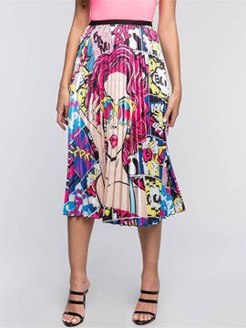 Ericdress Print Cartoon Mid-Calf Fashion High Waist Women's Skirt