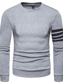 Ericdress Pullover Stripe Men's Slim Round Neck Hoodies
