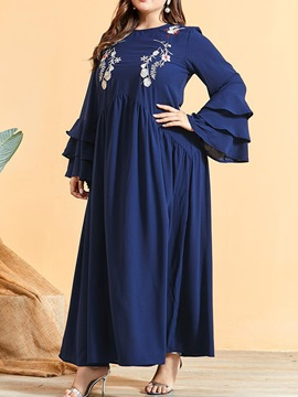 Ericdress Embroidery Round Neck Long Sleeve Plant Pullover Women's Dress