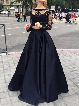 Ericdress Floor-Length Long Sleeve Mesh Women's Fashion Dress