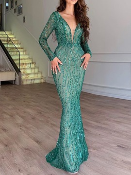 Ericdress Sequins Long Sleeve Floor-Length Dress Dress