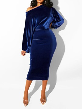 Ericdress Long Sleeve Mid-Calf Pullover Women's Bodycon Dress