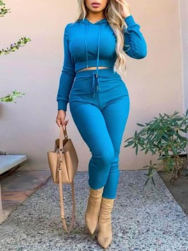 Ericdress Plain Sexy Pants Hooded Pencil Pants Two Piece Sets