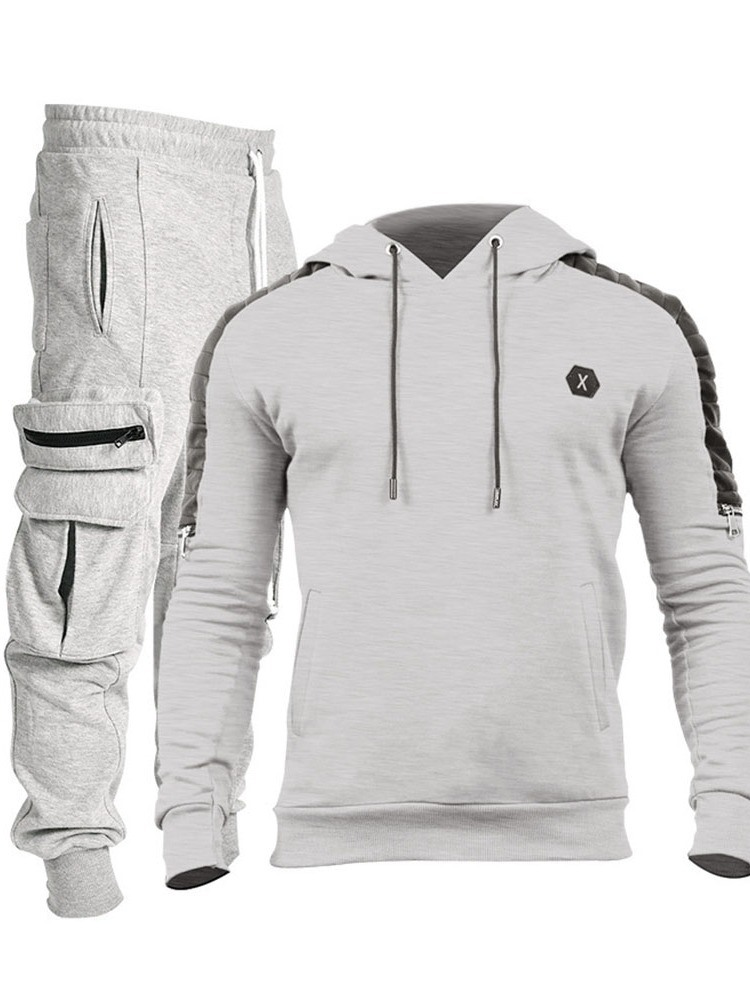 Ericdress Hoodie Color Block Sports Fall Men's Outfit