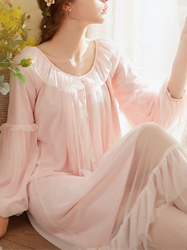 Ericdress Single Plain Patchwork Mid-Calf Long Sleeve Nightgowns