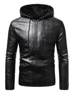 Ericdress Hooded Plain Standard Winter Zipper Leather Men's Jacket