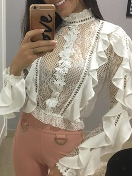 Ericdress Lace Floral Standard Long Sleeve Women's Blouse